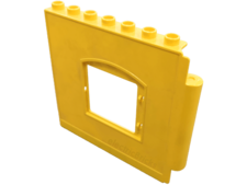 Yellow Duplo Building Wall 1 x 8 x 6 with Window Opening, Hinge on Right
