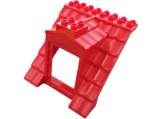 Red Duplo Building Barn Roof Section 8 x 8 x 8 with Door Opening
