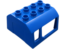 Blue Duplo, Train Locomotive Cabin Roof 2 x 4 Studs, 2 Small and 2 Large Windows
