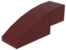 Dark Red Slope, Curved 3 x 1 No Studs