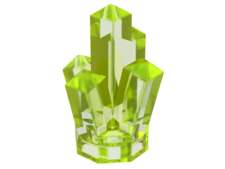 Trans-Neon Green Rock 1 x 1 Crystal 5 Point