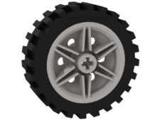 White Wheel 30mm D. x 14mm with Black Tire 43.2 x 14 Offset Tread (56904 / 56898)