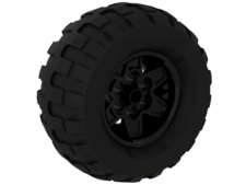 Black Wheel 43.2mm D. x 26mm Technic Racing Small, 6 Pin Holes with Black Tire 81.6 x 38 R Balloon (56908 / 45982)