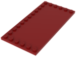 Red Tile, Modified 6 x 12 with Studs on Edges
