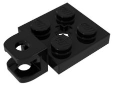 Black Plate, Modified 2 x 2 with Towball Socket, Short, Flattened with Holes and Axle Hole in Center