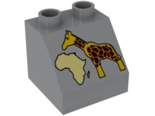 Light Bluish Gray Duplo, Brick 2 x 2 Slope 45 with Africa Map and Giraffe Pattern
