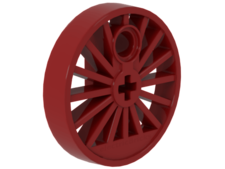 Red Train Wheel RC Train, Spoked with Technic Axle Hole and Counterweight, 30 mm D. (Blind Driver)