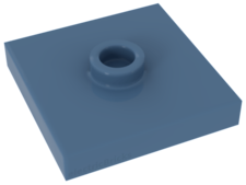 Medium Blue Plate, Modified 2 x 2 with Groove and 1 Stud in Center (Jumper)