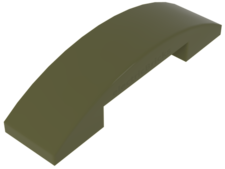 Olive Green Slope, Curved 4 x 1 Double No Studs