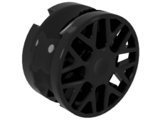 Black Wheel 11mm D. x 6mm with 8 'Y' Spokes