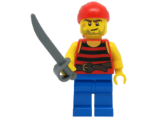 Minifigure 40158 Pirate 3. Black and red stripes and blue legs