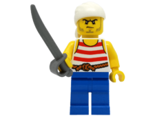 Minifigure 40158 Pirate 9. Red and white stripes and blue legs