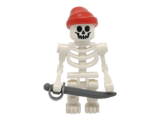 Minifigure gen036 Skeleton, Fantasy Era Torso with Standard Skull, Mechanical Arms, Red Bandana