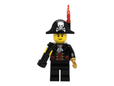 Minifigure pi138 Captain, Bicorne Hat with Skull and Plume