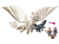 Light Fury with Baby Dragon and Children