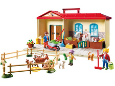 Country Take Along Farm with Carry Handle and Fold-Out Stables - Multicolor