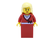 Minifigure twn134 Sweater Cropped with Bow, Heart Necklace, Red Skirt, Bright Light Yellow Female Hair Mid-Length