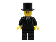 Minifigure twn133 Suit Black, Top Hat, Black Legs